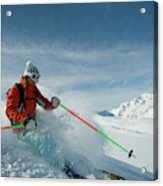 A Young Woman Skis The Backcountry Acrylic Print