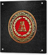 Aa Initials - Gold Antique Monogram On Black Leather Acrylic Print
