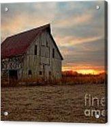 Abanded Barn At Sunset Acrylic Print