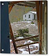 Abandoned Cabin Elkmont Smoky Mountains - Screened Door Old House Acrylic Print
