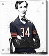 Abe Lincoln In A Walter Payton Chicago Bears Jersey Acrylic Print