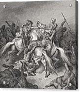 Abishai Saves The Life Of David Acrylic Print by Gustave Dore