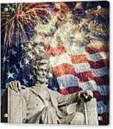 Abraham Lincoln Fireworks Acrylic Print