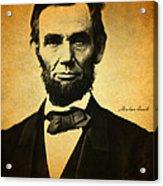 Abraham Lincoln Portrait And Signature Acrylic Print