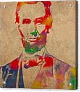 Abraham Lincoln Watercolor Portrait On Worn Distressed Canvas Acrylic Print