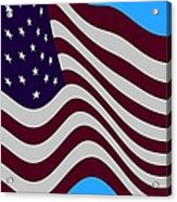 Abstract Burgundy Grey Violet 50 Star American Flag Flying Cropped Acrylic Print