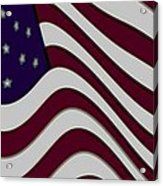 Abstract 50 Star American Flag Flying Enhanced Cropped X 2 Acrylic Print by L Brown