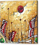 Abstract Art Cityscape Original Painting The Garden City By Madart Acrylic Print