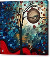 Abstract Art Contemporary Cat Bird Circle Of Life Collection Cat Perch By Madart Acrylic Print