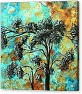 Abstract Art Landscape Metallic Gold Textured Painting Spring Blooms II By Madart Acrylic Print