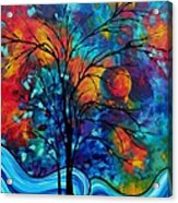 Abstract Art Landscape Tree Bold Colorful Painting A Secret Place By Madart Acrylic Print