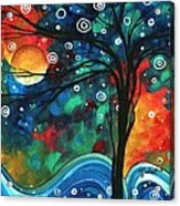 Abstract Art Original Landscape Colorful Painting First Snow Fall By Madart Acrylic Print by Megan Duncanson