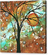Abstract Art Original Landscape Painting Bold Circle Of Life Design Autumns Eve By Madart Acrylic Print