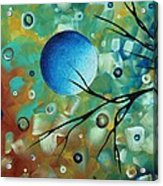 Abstract Art Original Landscape Painting Colorful Circles Morning Blues I By Madart Acrylic Print