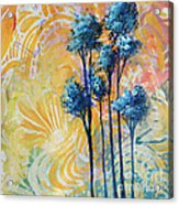 Abstract Art Original Landscape Painting Contemporary Design Blue Trees II By Madart Acrylic Print