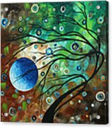 Abstract Art Original Landscape Painting Mint Julep By Madart Acrylic Print