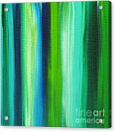 Abstract Art Original Textured Soothing Painting Sea Of Whimsy Stripes I By Madart Acrylic Print by Megan Duncanson