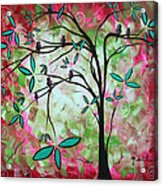 Abstract Art Original Whimsical Magical Bird Painting Through The Looking Glass  Acrylic Print