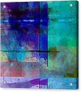 abstract-art-Rhapsody in Blue Square  Acrylic Print by Ann Powell