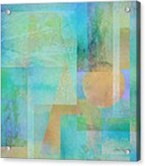 abstract - art- Tahitian Blue Square Acrylic Print