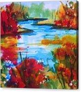 Abstract - Autumn Blaze On Catskill Creek Acrylic Print