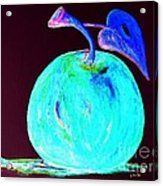 Abstract Blue And Teal Apple On Black Acrylic Print