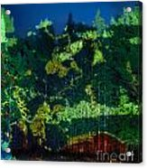 Abstract Colorful Light Projection On Trees Acrylic Print