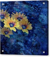 Abstract Daisies On Blue Acrylic Print by Ann Powell