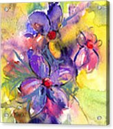 abstract Flower botanical watercolor painting print Acrylic Print