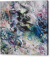 Abstract Flower Field Painting Blue Pink Green Purple Black Landscape Painting Modern Acrylic Pastel Acrylic Print