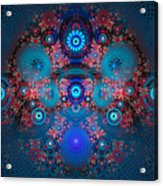 Abstract Fractal Art Blue And Red Acrylic Print
