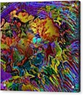 Abstract Fronds In Jewel Tones - Square Acrylic Print