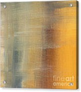 Abstract Golden Yellow Gray Contemporary Trendy Painting Fluid Gold Abstract I By Madart Studios Acrylic Print