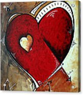 Abstract Heart Original Painting Valentines Day Heart Beat By Madart Acrylic Print