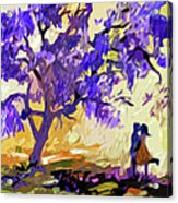 Abstract Jacaranda Tree Lovers Acrylic Print by Ginette Callaway