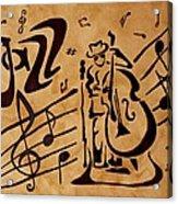 Abstract Jazz Music Coffee Painting Acrylic Print