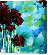 Abstract Landscape Art Original Tree And Moon Painting Blue Moon By Madart Acrylic Print
