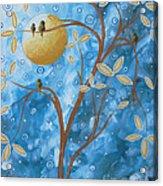 Abstract Landscape Bird Painting Original Art Blue Steel 1 By Megan Duncanson Acrylic Print