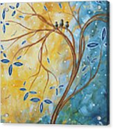 Abstract Landscape Bird Painting Original Art Blue Steel 2 By Megan Duncanson Acrylic Print