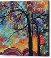 Abstract Landscape Tree Art Colorful Gold Textured Original Painting Colorful Inspiration By Madart Acrylic Print