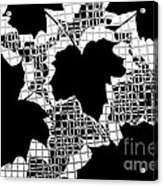 Abstract Leaf Pattern - Black White Grey Acrylic Print