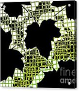 Abstract Leaf Pattern - Black White Lime Green Acrylic Print