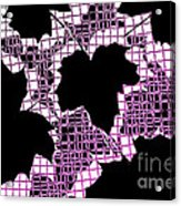 Abstract Leaf Pattern - Black White Pink Acrylic Print