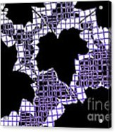 Abstract Leaf Pattern - Black White Purple Acrylic Print