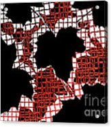 Abstract Leaf Pattern - Black White Red Acrylic Print