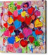 Abstract Love Bouquet Of Colorful Hearts And Flowers Acrylic Print
