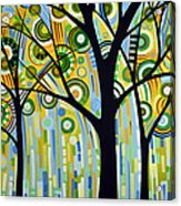 Abstract Modern Tree Landscape Spring Rain By Amy Giacomelli Acrylic Print