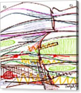 Abstract Pen Drawing Forty-five Acrylic Print