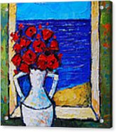 Abstract Poppies By The Sea Acrylic Print