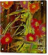 Abstract Poppies Flowers Mixed Media Painting Acrylic Print